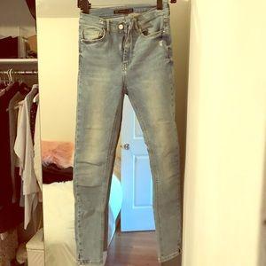 Zara high rise light wash jeans